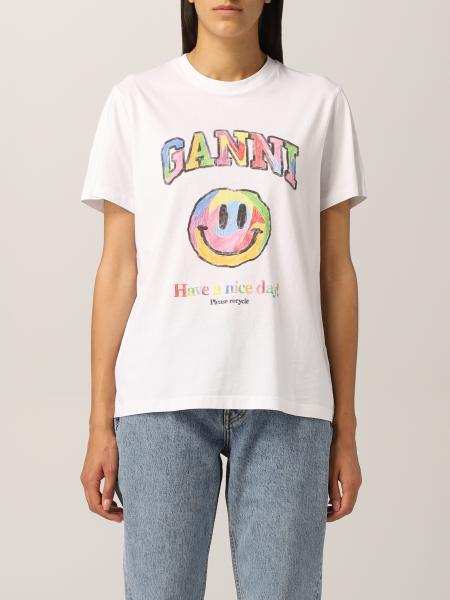 Ganni cotton T-shirt with smile print