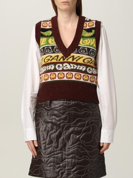 Gilet Ganni in misto lana riciclata