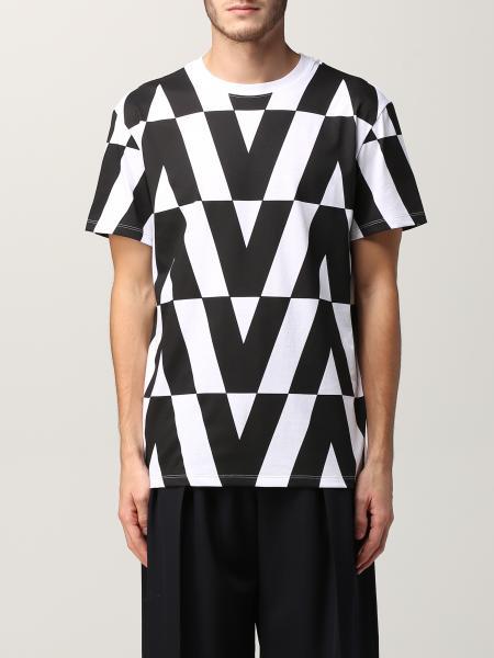 T-shirt Valentino in cotone con stampa logo all over