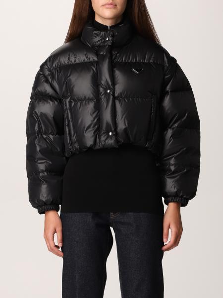 Prada women: Prada down jacket in cropped nylon