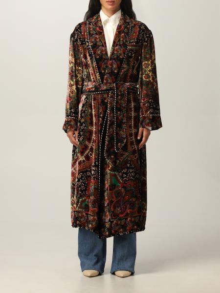 Cappotto a vestaglia Etro in velluto con motivo paisley