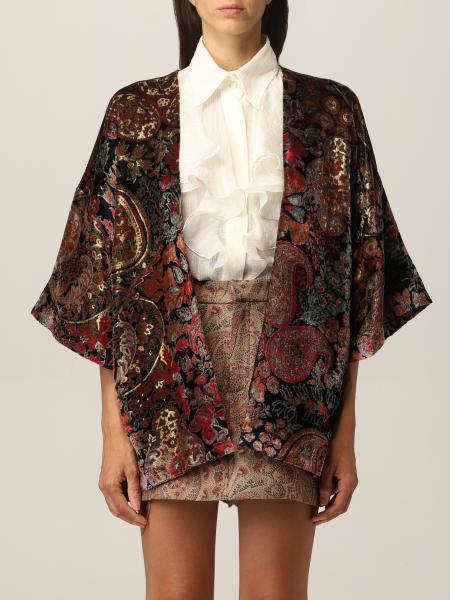 Etro donna: Kimono Etro in velluto con motivo paisley