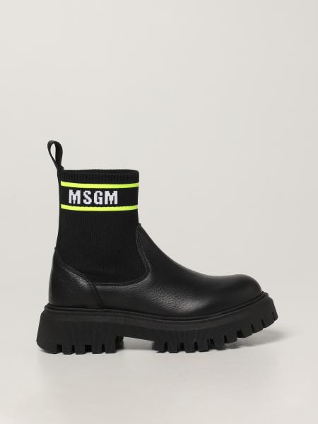 Msgm Kids ankle boot in leather and knit
