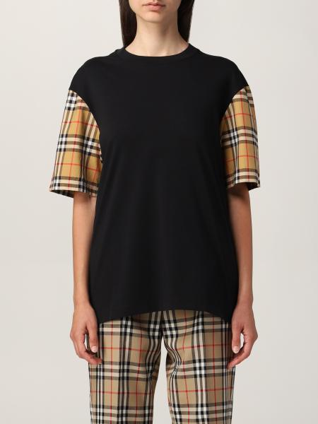 Burberry cotton T-shirt with check sleeves