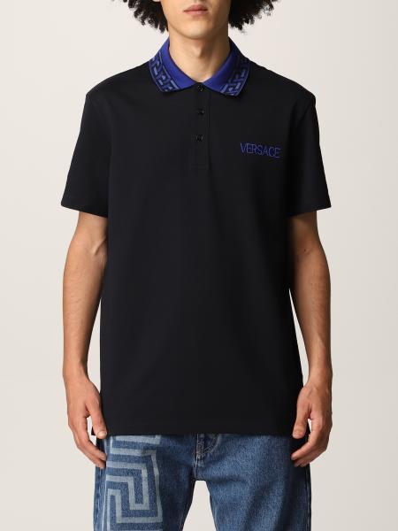 Versace men: Versace cotton pique polo shirt with embroidered logo