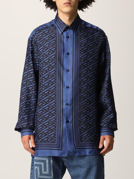Versace men: Versace silk shirt with Greca and Medusa Smiley print