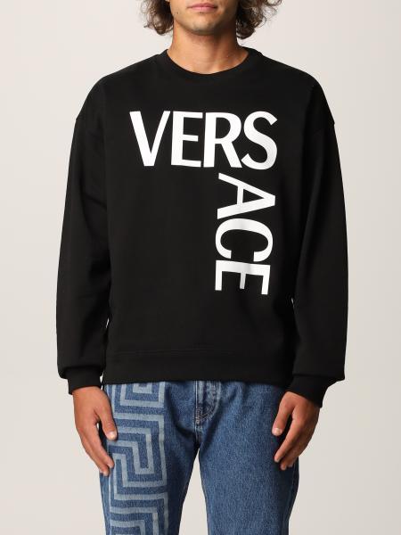 Versace men: Versace cotton jumper with big logo