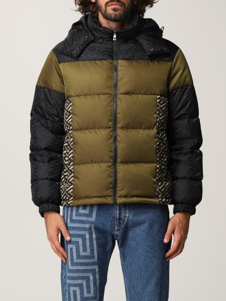 Versace men: Versace down jacket in technical fabric with La Greca print