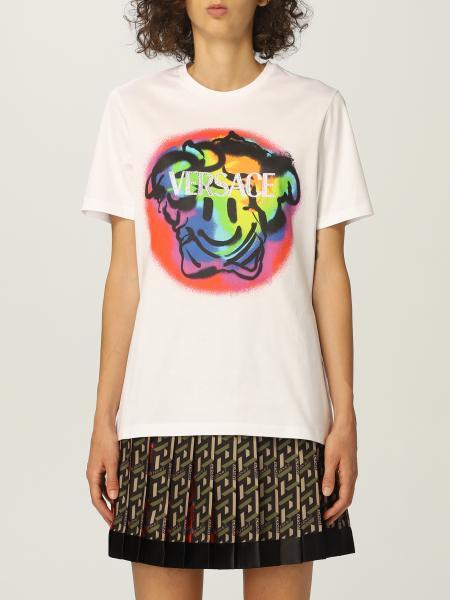 T-shirt Versace in cotone con Medusa Smiley e logo