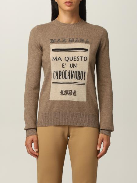 Max Mara sweater with logo in cashmere and wool