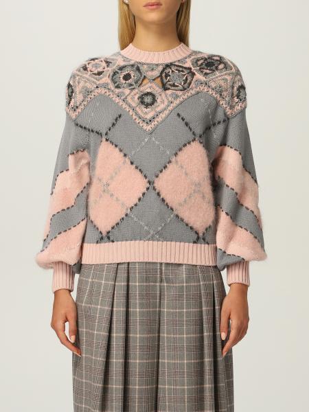 Maglia Alberta Ferretti in lana vergine a rombi