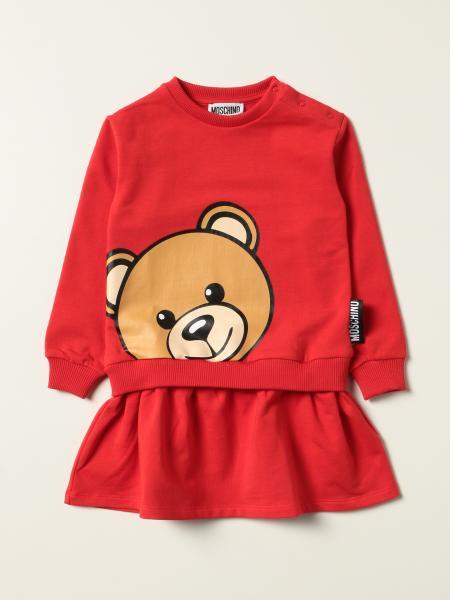Moschino Baby sweatshirt dress with big teddy