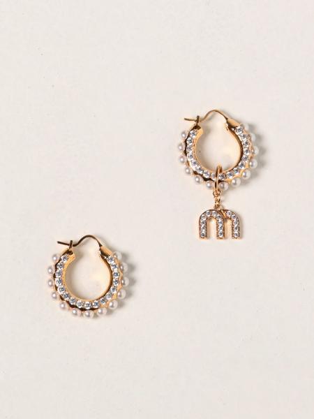 Orecchini asimmetrici Miu Miu con cristalli e perle