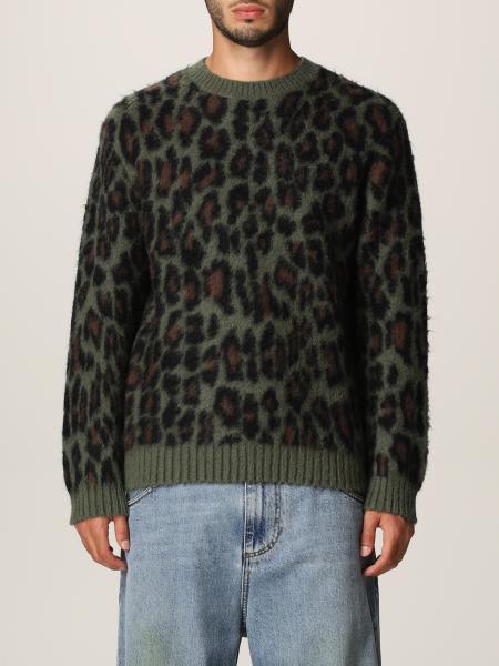 Msgm uomo: Pullover Msgm in lana merino a fantasia animalier