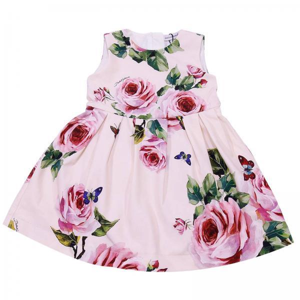 Abito bambina Dolce Gabbana Fantasia Abito Natale Femmina 1 Senza Maniche  Con Stampa Di Rose E . ... 4562f4d5ab5