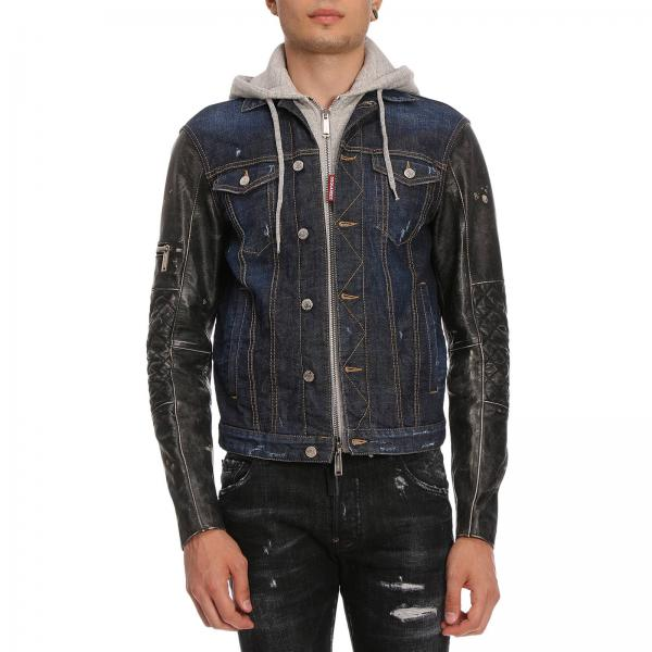 Giacca jeans uomo con felpa