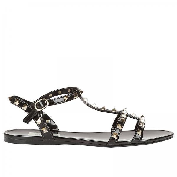 62e47b07d5f8a Valentino Garavani Women s Black Flat Sandals