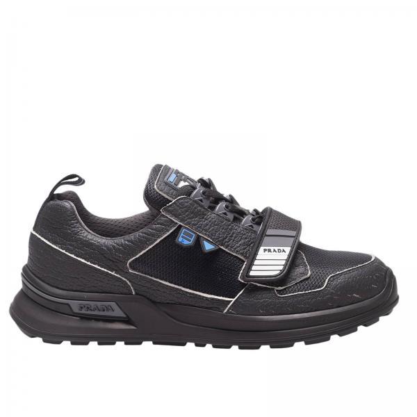 Sneakers WRK in pelle e tessuto tecnico tecnico con maxi suola in gomma e fibbia a strappo by Prada