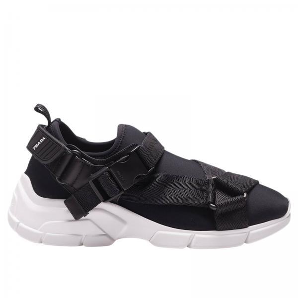 Sneakers Xy slip on in neoprene con multi fibbie e logo in gomma Prada