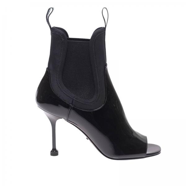 Stivali in vera pelle verniciata con fasce in tessuto tecnico stretch a calza e logo prada