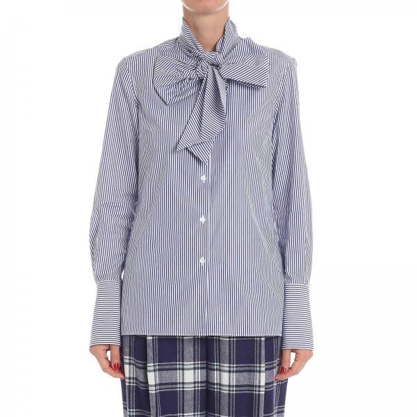 Camicia bacchettata con collo a foulard e maxi fiocco