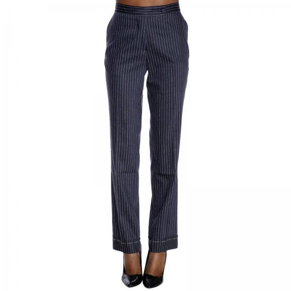 Retto Classic Pantalone In Tessuto Gessato H2DE9I