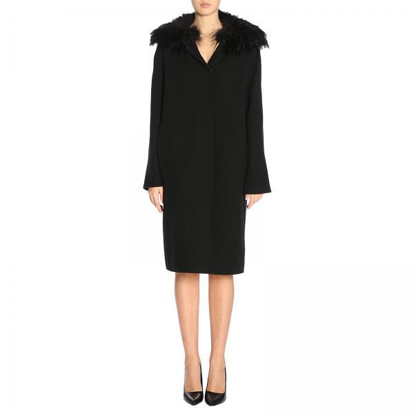Cappotto lungo a monopetto con bordi di pelliccia