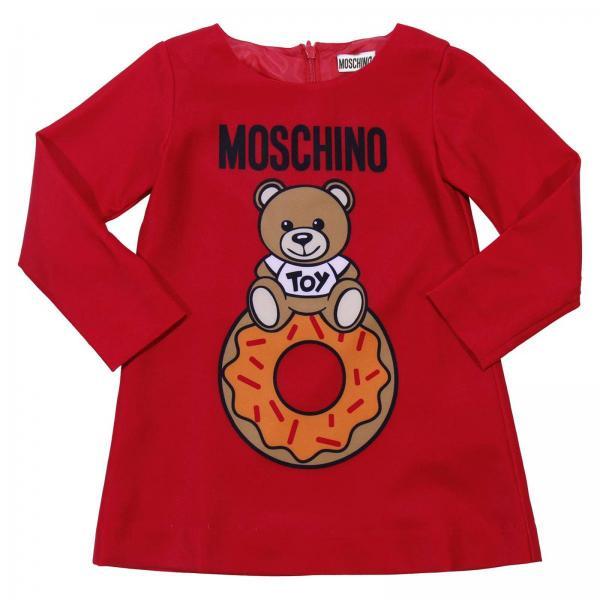 promo code df30b d3725 Abito a girocollo con maniche lunghe e stampa teddy bear moschino