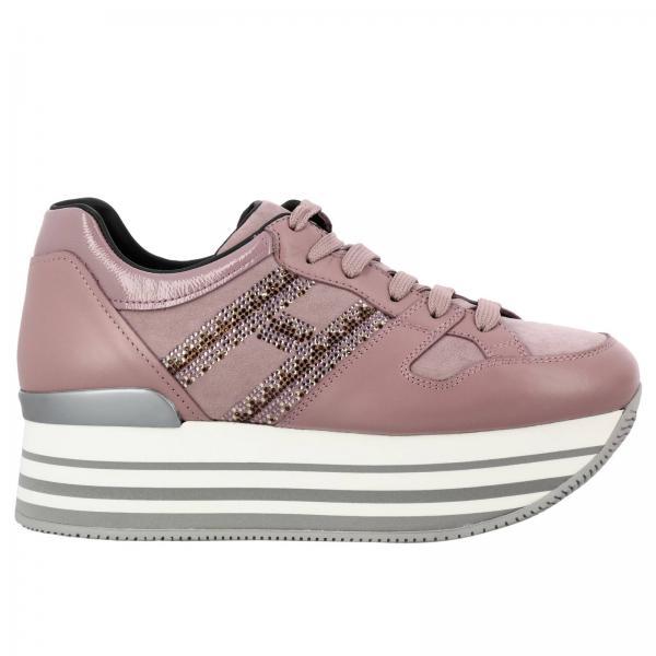 Sneakers 283 stringata in pelle liscia e scamosciata con big h di strass