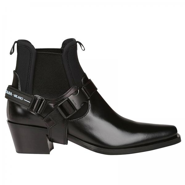 classcic buy cheap top-rated discount Prada pointed ankle boot in leather and neoprene with buckles and prada logo