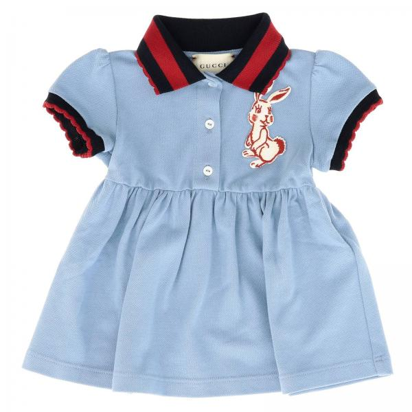 Gucci Little Girl's Sky Blue Dress | Dress Kids Gucci | Gucci Dress 518605 X9w01 - Giglio EN