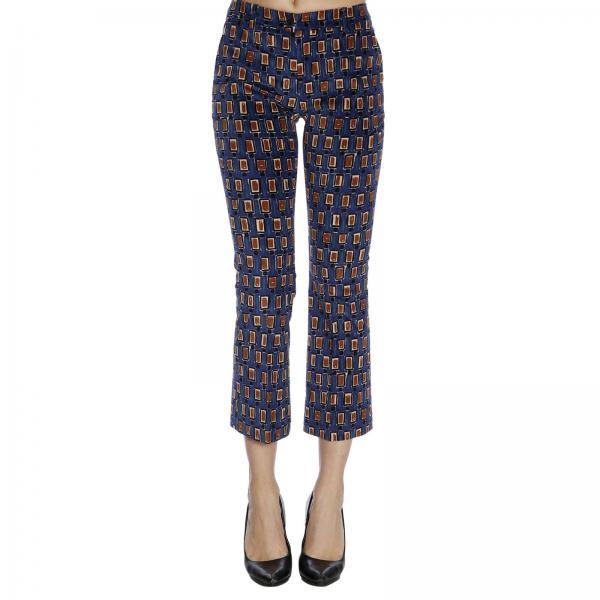 Pantalone a trombetta con fantasia geometrica