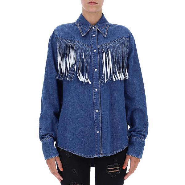 new product fce32 4acf5 Camicia in denim con frange sfumate in stile country