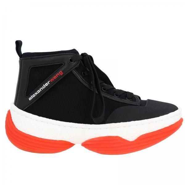 Sneakers stringata a polacco in tessuto e pelle con maxi suola over