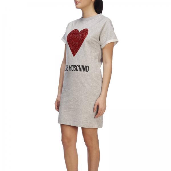 Maxi Corte Moschino Abito shirt T Con Cuore E A Love Maniche WHeD2YIE9b