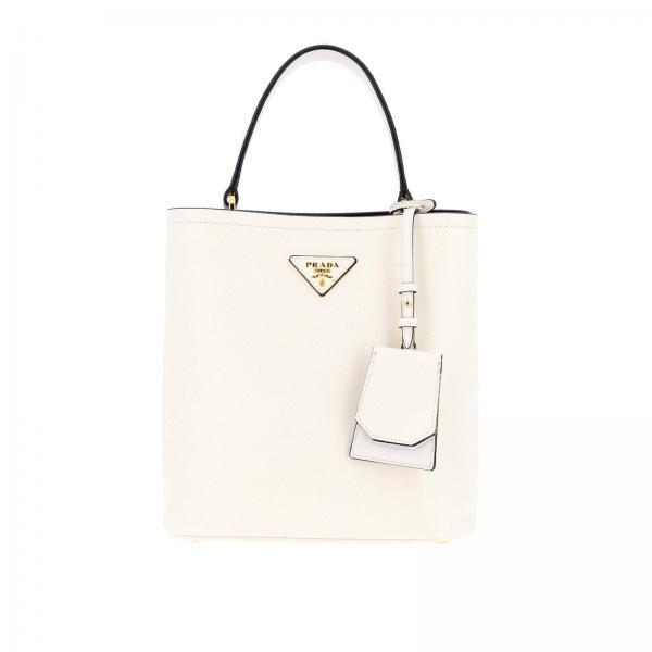 purchase cheap 82228 ff5dc Borsa double a secchiello small in pelle saffiano con logo triangolare prada