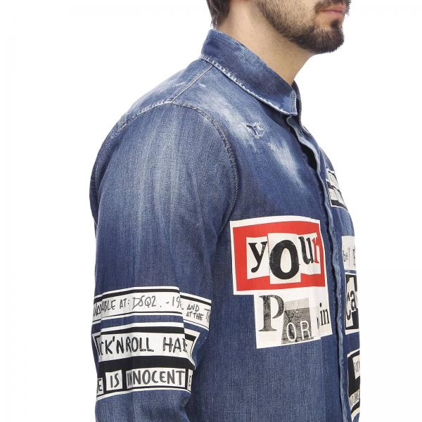 Dsquared2 Stampe Camicia Con In Over Used All Denim QBhtCsxrd