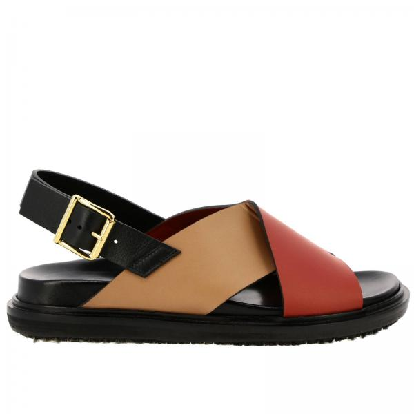 In Sandalo Fussbett Bicolor Incrociate Con Gomma Suola A Pelle Fasce mwvNn80