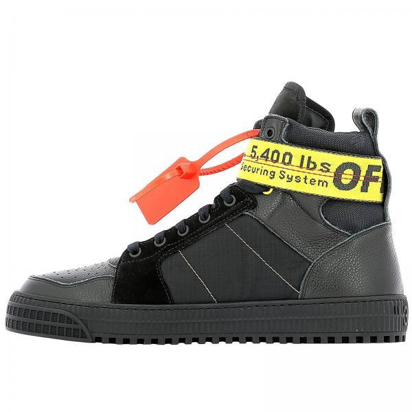 Fibbia Off White Tessuto Camoscio E Sneakers Pelle Con In CrBshoQdtx