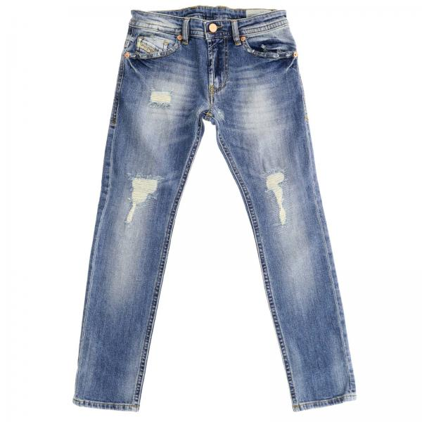 Jeans in cotone stretch used stone washed con rotture a 5 tasche