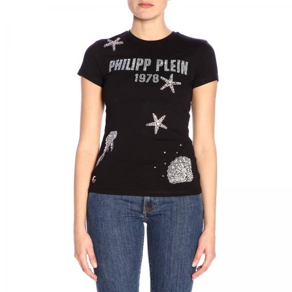 Plein T shirt A Strass Maniche Corte Maxi Di Con Stampa Philipp PXkZui