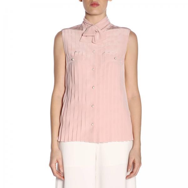 uk availability bd090 6c2ca Camicia senza maniche con plissé perle e collo a foulard