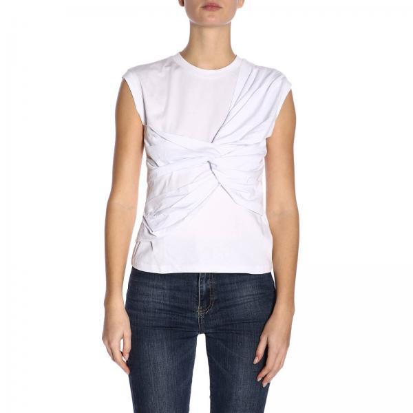 MsgmTop Donna T Con By 2641mdm92195298 A shirt Girocollo Drappeggio l1TFKJc