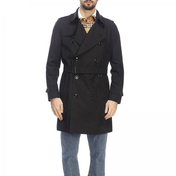 Trench coat Kensington medio in gabardine impermeabile con sotto collo check Burberry