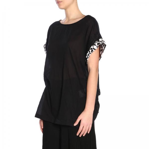 shirt Mdl00047 Bw0161 Missoni Fantasia T Donna NeroMaglia Risvolti Con Basic A L5Aj43Rq