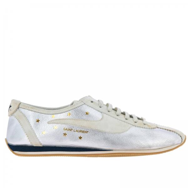 By ArgentoStringata 00i10 Laurent Camoscio Stelle In E Con Pelle Laminata Sneakers 558314 Donna Saint OZiPukX
