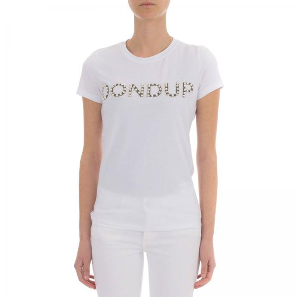 Maniche Stampa Con T BiancoA Js0212v44 Corte shirt S007 Dondup Donna Logo cRAS3j5L4q