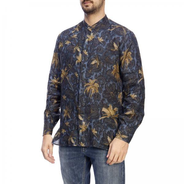 Camisa 1k351 Etro verano 2019 Primavera Hombre Blue 5550giglio tfrwfq