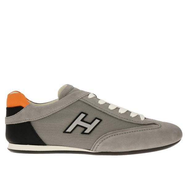Sneakers Hogan in camoscio pelle e micro rete con H flock