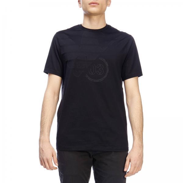 shirt Emporio Con Maniche Aquila Armani A T Corte Stretch Logo nP8k0wO